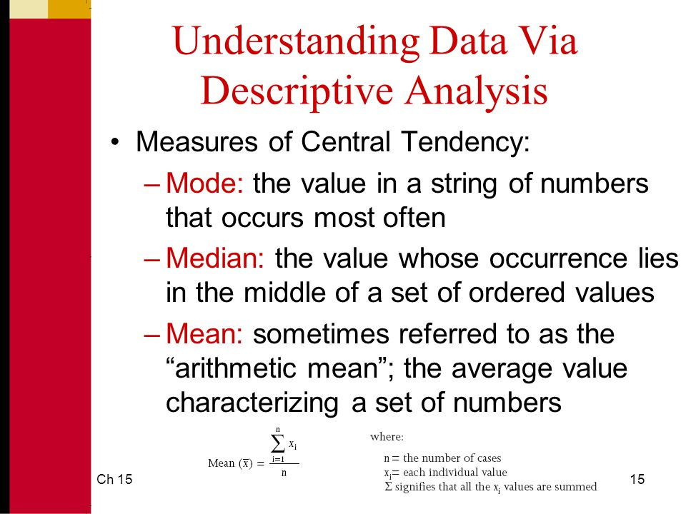 Ch 1515 Understanding Data Via Descriptive Analysis Measures of Central Tendency: –Mode: the value in a string of numbers that occurs most often –Median: the value whose occurrence lies in the middle of a set of ordered values –Mean: sometimes referred to as the arithmetic mean ; the average value characterizing a set of numbers