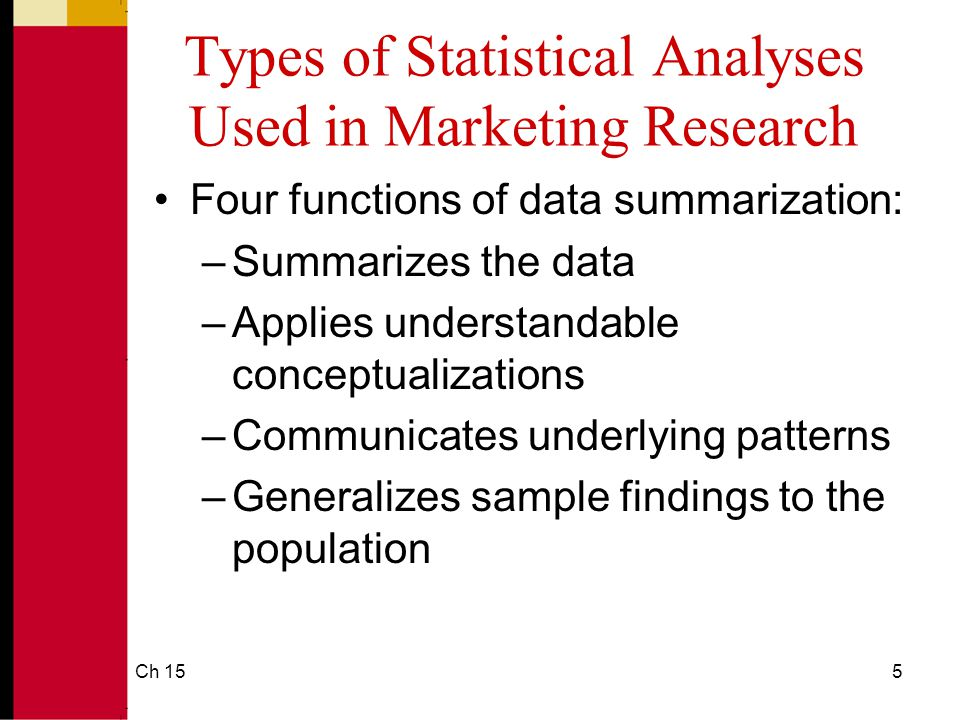 Ch 1516 Understanding Data Via Descriptive Analysis Measures of Variability: –Frequency distribution reveals the number (percent) of occurrences of each number or set of numbers –Range identifies the maximum and minimum values in a set of numbers –Standard deviation indicates the degree of variation in a way that can be translated into a bell-shaped curve distribution