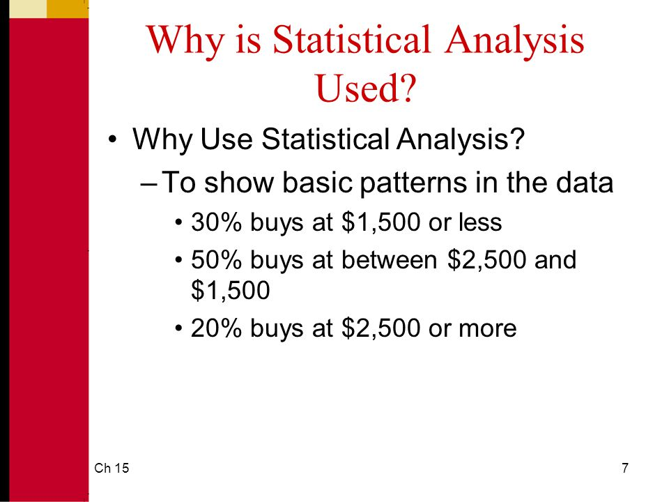 Ch 1518 When to Use a Particular Statistic