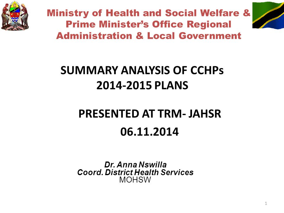 SUMMARY ANALYSIS OF CCHPs 2014-2015 PLANS Dr. Anna Nswilla Coord.