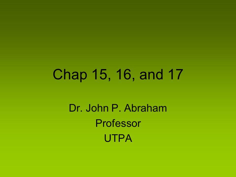 Chap 15, 16, and 17 Dr. John P. Abraham Professor UTPA