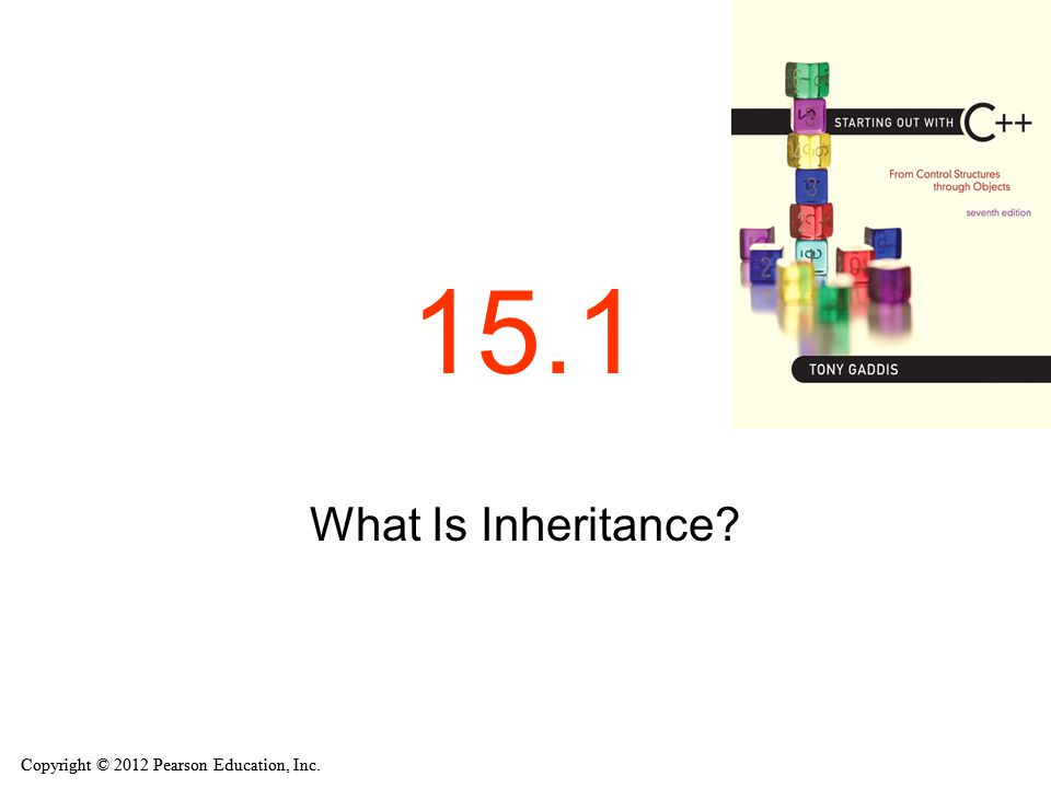 Copyright © 2012 Pearson Education, Inc. 15.1 What Is Inheritance?