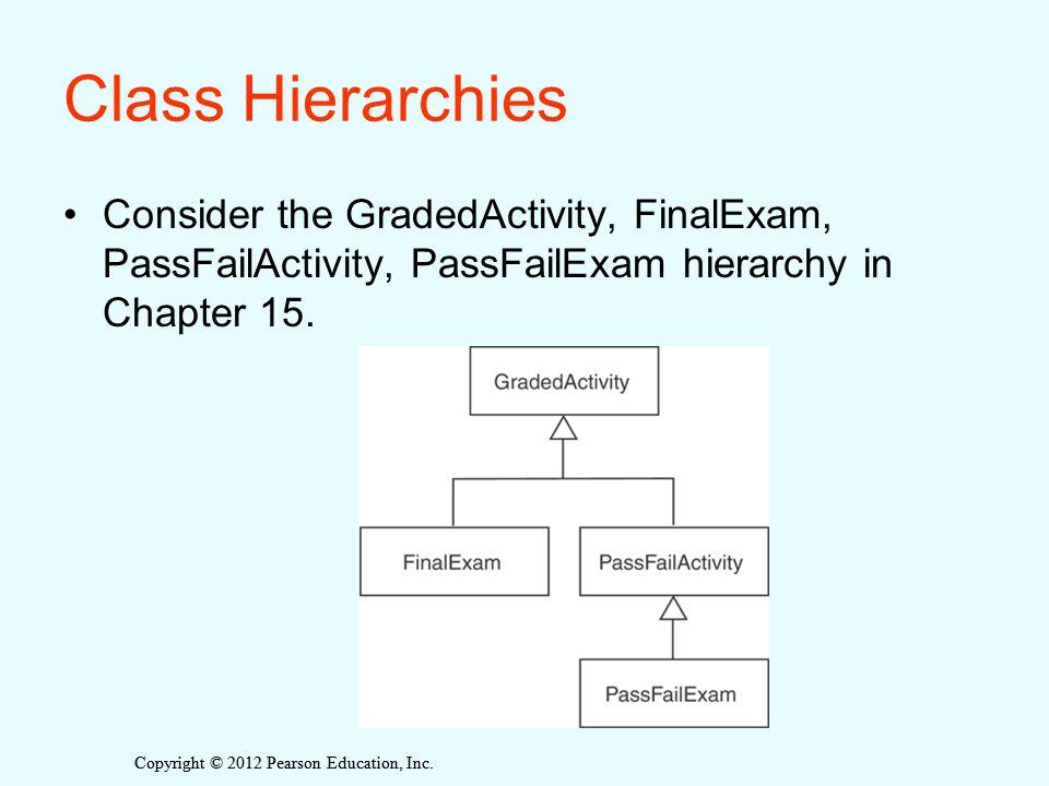Copyright © 2012 Pearson Education, Inc. Class Hierarchies Consider the GradedActivity, FinalExam, PassFailActivity, PassFailExam hierarchy in Chapter
