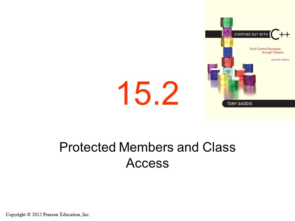 Copyright © 2012 Pearson Education, Inc. 15.2 Protected Members and Class Access