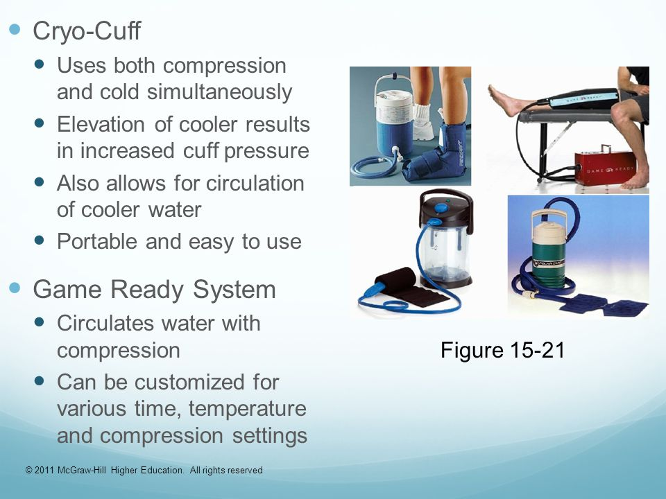 Cryo-Cuff Uses both compression and cold simultaneously Elevation of cooler results in increased cuff pressure Also allows for circulation of cooler water Portable and easy to use Game Ready System Circulates water with compression Can be customized for various time, temperature and compression settings Figure 15-21