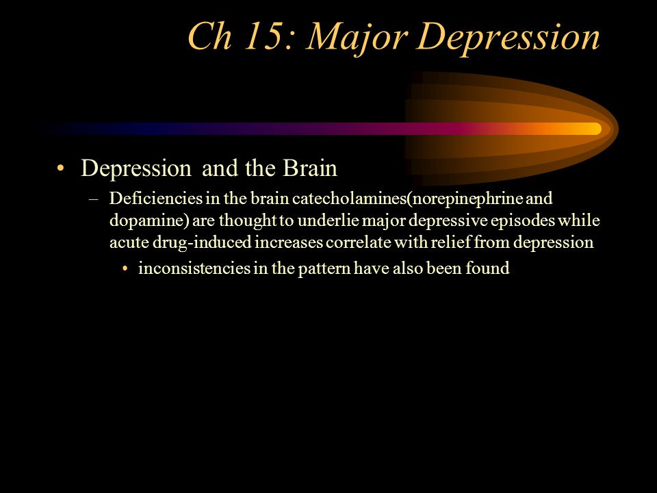 Ch 15 Major Depression MDD vs Bipolar Depression is an affective disorder characterized by loss of interest or pleasure Bipolar disorder (manic-depressive disorder) is characterized by recurrent episodes of mania and depression