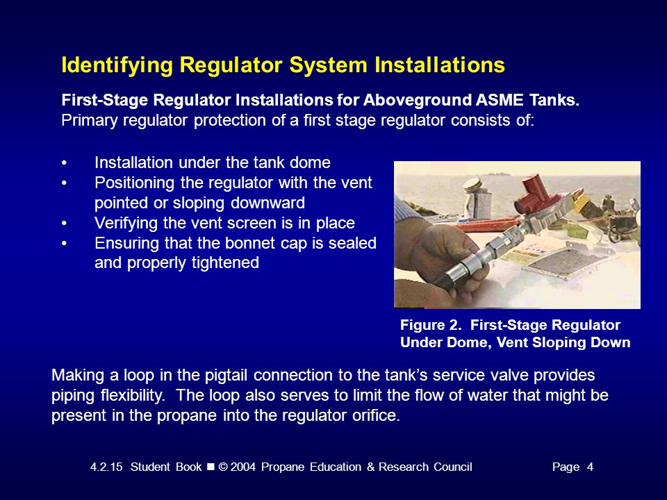 4.2.15 Student Book © 2004 Propane Education & Research CouncilPage 4 Identifying Regulator System Installations Figure 2. First-Stage Regulator Under