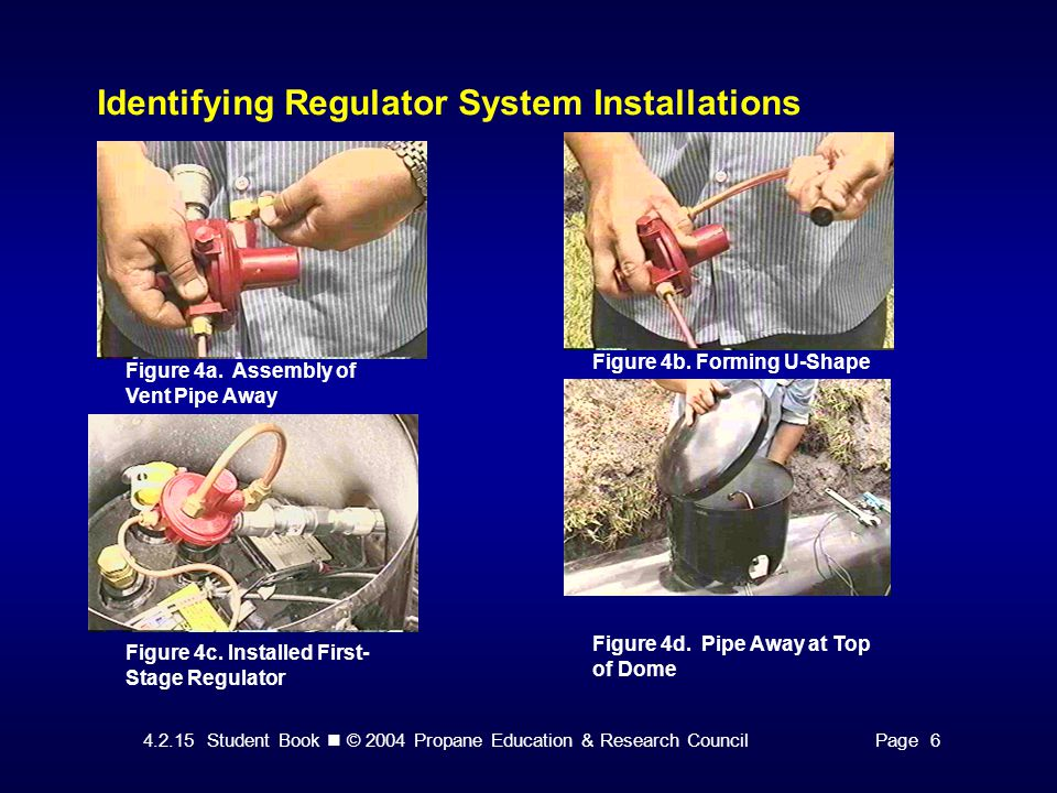 4.2.15 Student Book © 2004 Propane Education & Research CouncilPage 6 Identifying Regulator System Installations Figure 4a. Assembly of Vent Pipe Away