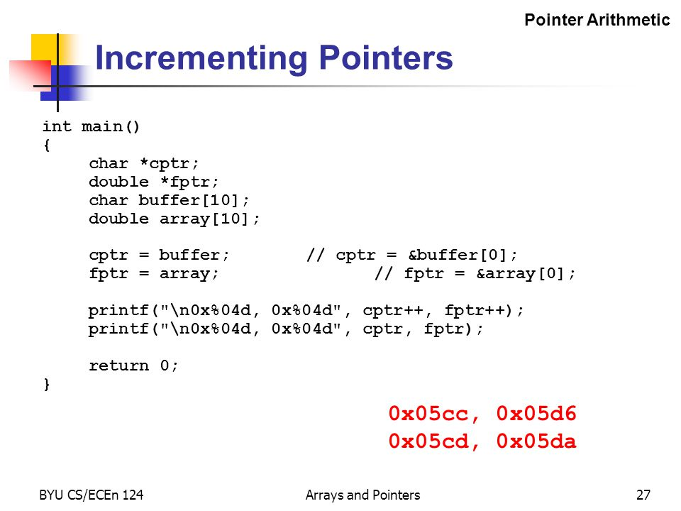BYU CS/ECEn 124Arrays and Pointers27 Incrementing Pointers int main() { char *cptr; double *fptr; char buffer[10]; double array[10]; cptr = buffer;//