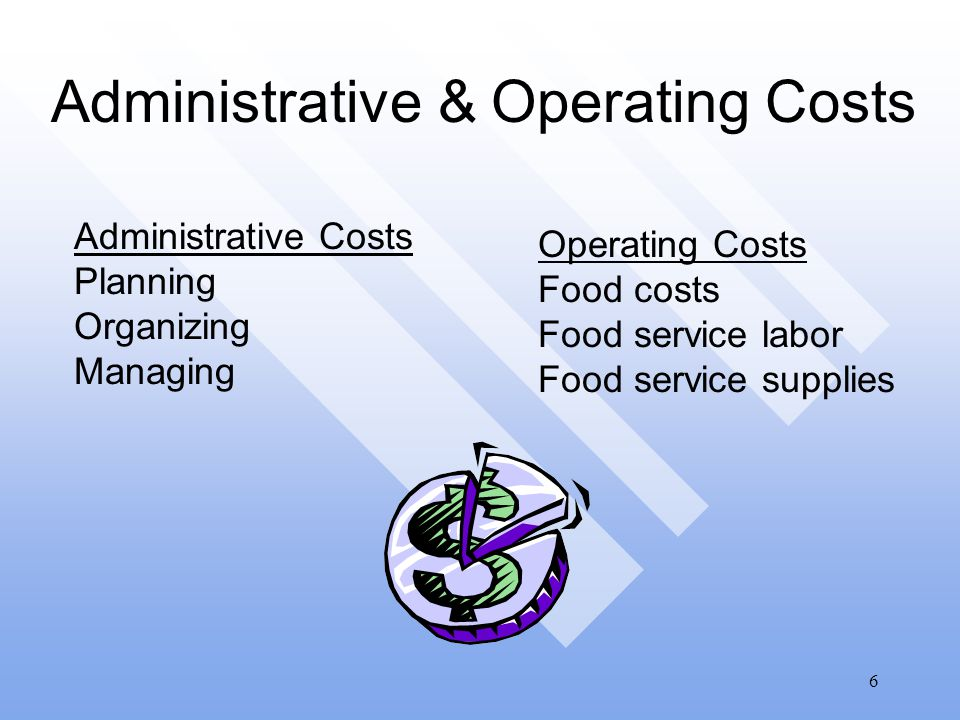 6 Administrative & Operating Costs Administrative Costs Planning Organizing Managing Operating Costs Food costs Food service labor Food service supplies