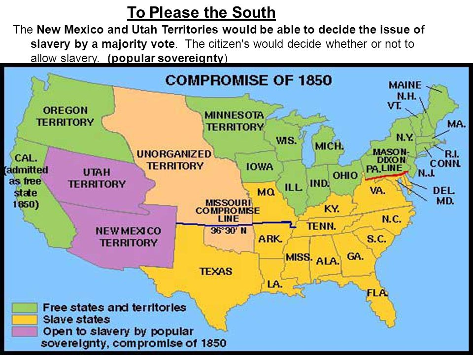 The New Mexico and Utah Territories would be able to decide the issue of slavery by a majority vote. The citizen's would decide whether or not to allo