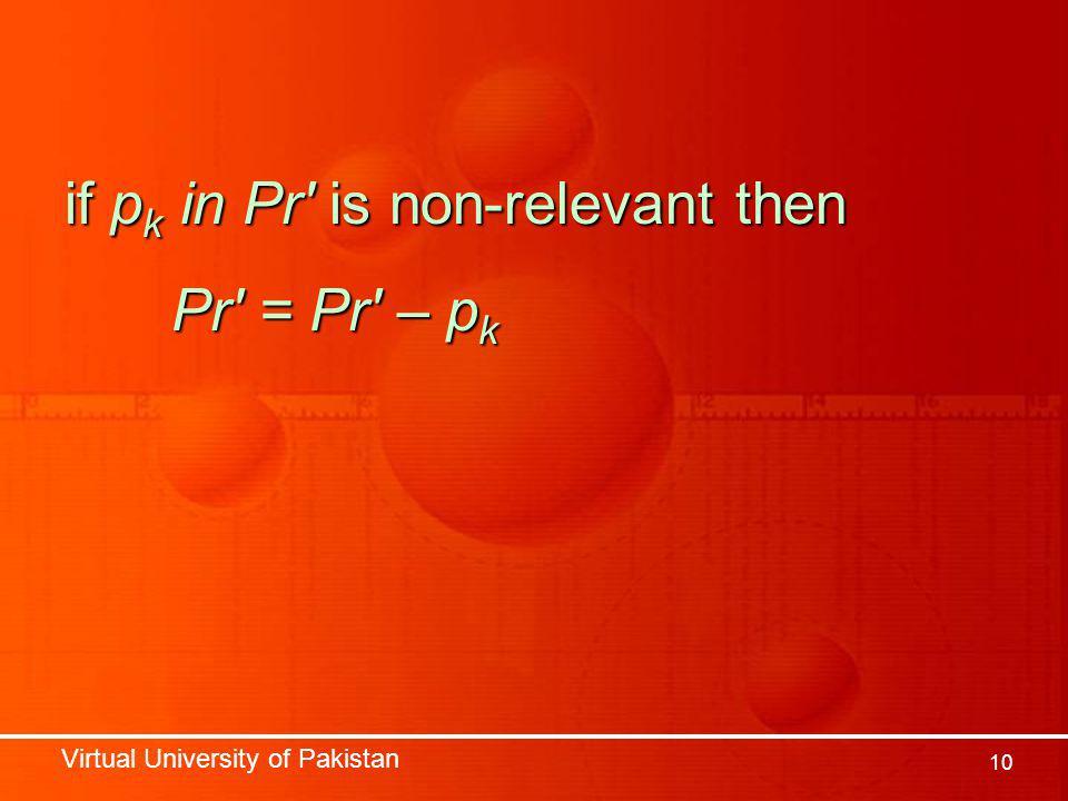 Virtual University of Pakistan 10 if p k in Pr is non-relevant then Pr = Pr – p k