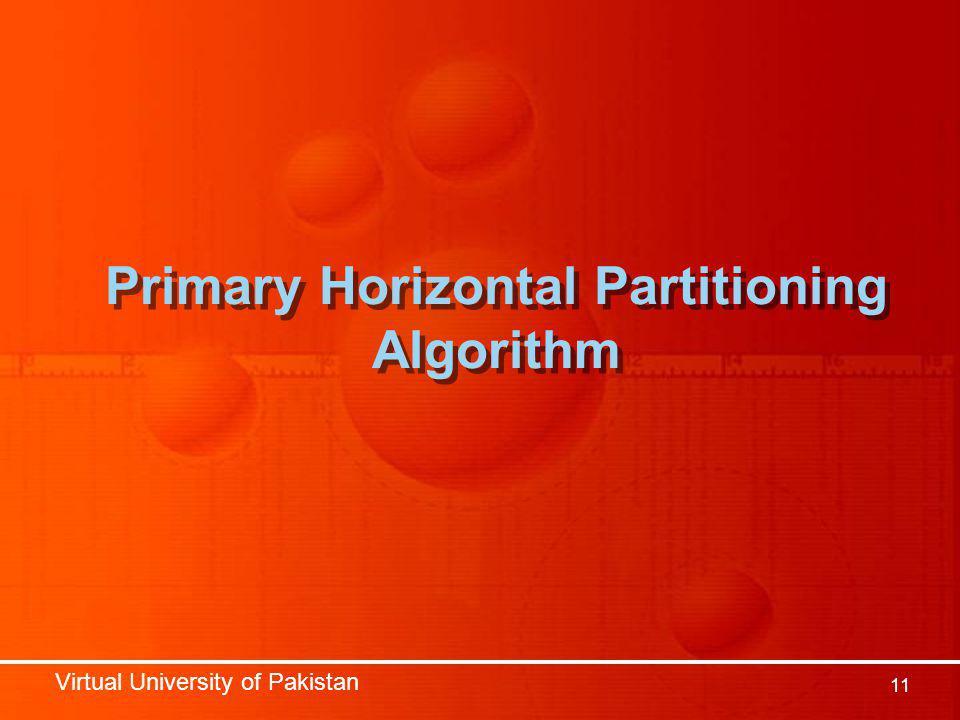 Virtual University of Pakistan 11 Primary Horizontal Partitioning Algorithm