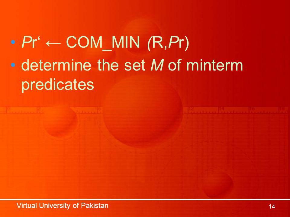 Virtual University of Pakistan 14 Pr' ← COM_MIN (R,Pr) determine the set M of minterm predicates