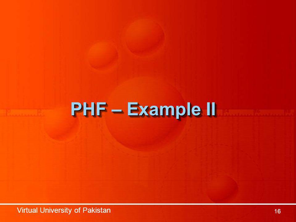 Virtual University of Pakistan 16 PHF – Example II