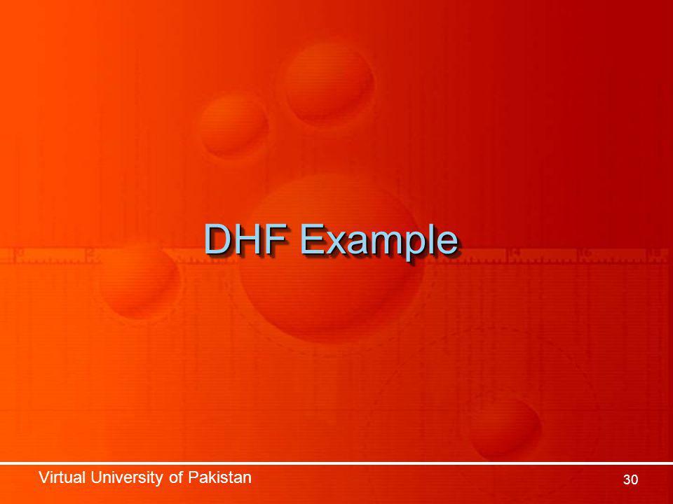 Virtual University of Pakistan 30 DHF Example