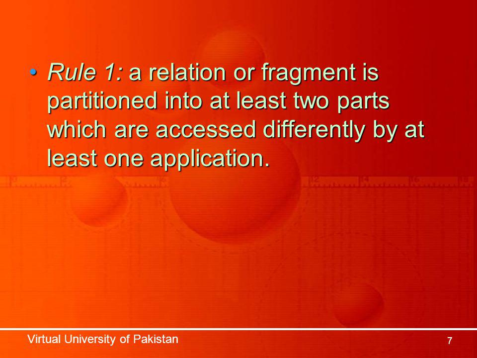 Virtual University of Pakistan 7 Rule 1: a relation or fragment is partitioned into at least two parts which are accessed differently by at least one
