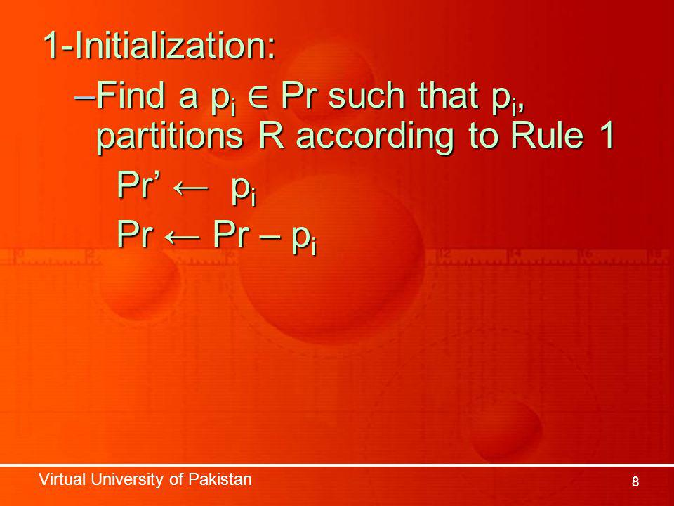 Virtual University of Pakistan 8 1-Initialization: –Find a p i ∈ Pr such that p i, partitions R according to Rule 1 Pr' ← p i Pr' ← p i Pr ← Pr – p i Pr ← Pr – p i
