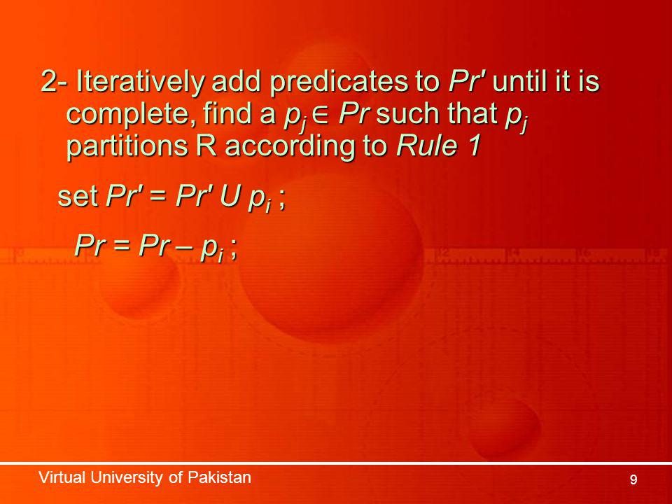 Virtual University of Pakistan 9 2- Iteratively add predicates to Pr until it is complete, find a p j ∈ Pr such that p j partitions R according to Rule 1 set Pr = Pr U p i ; set Pr = Pr U p i ; Pr = Pr – p i ; Pr = Pr – p i ;