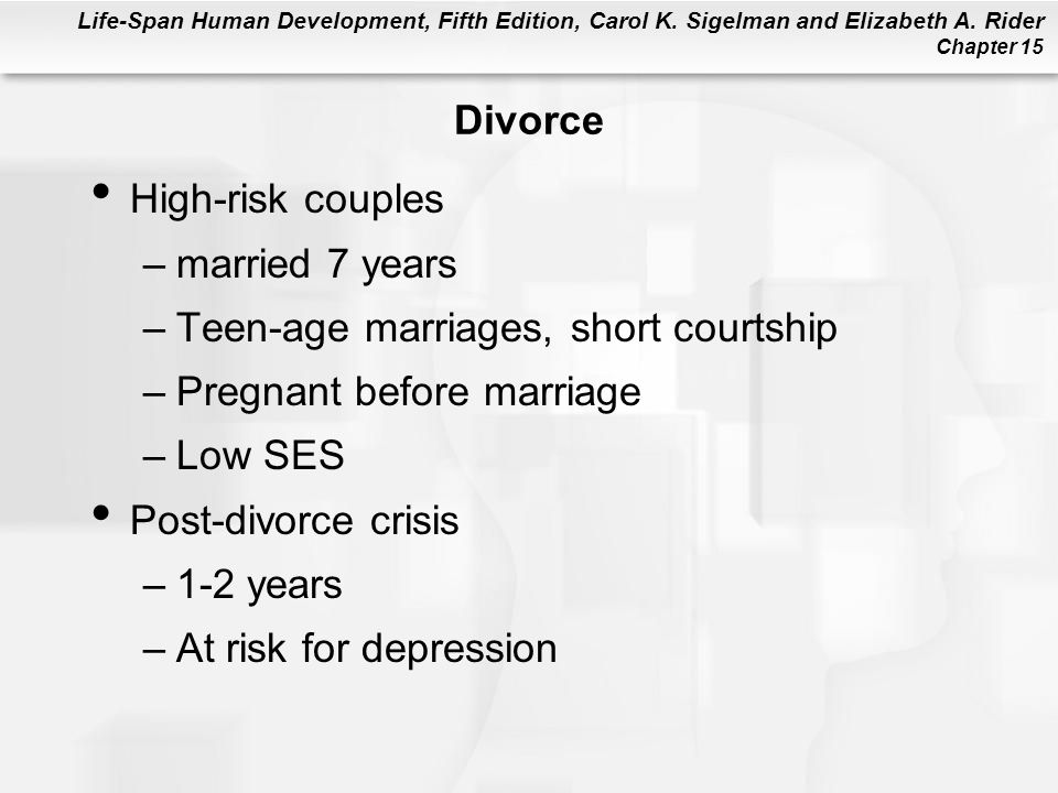 Life-Span Human Development, Fifth Edition, Carol K. Sigelman and Elizabeth A. Rider Chapter 15 Divorce High-risk couples –married 7 years –Teen-age m