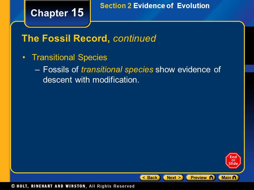Chapter 15 The Fossil Record, continued Transitional Species –Fossils of transitional species show evidence of descent with modification. Section 2 Ev