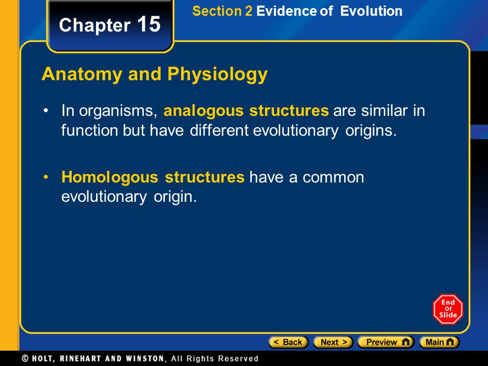 Chapter 15 Anatomy and Physiology In organisms, analogous structures are similar in function but have different evolutionary origins. Homologous struc