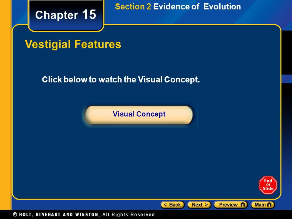 Chapter 15 Click below to watch the Visual Concept. Visual Concept Vestigial Features Section 2 Evidence of Evolution