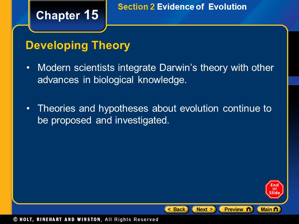 Chapter 15 Developing Theory Modern scientists integrate Darwin's theory with other advances in biological knowledge. Theories and hypotheses about ev