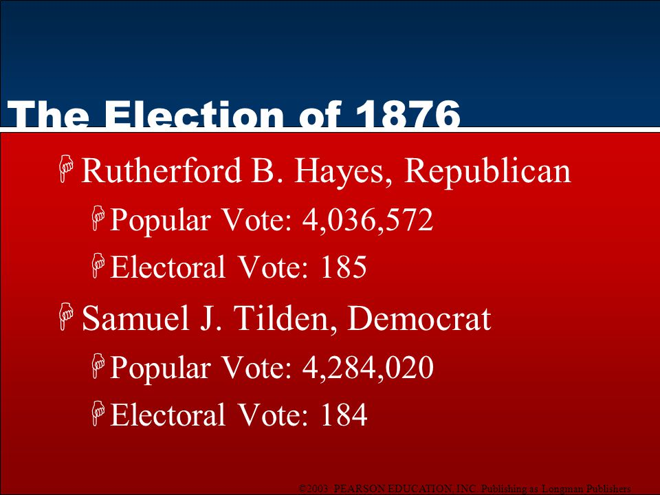 ©2003 PEARSON EDUCATION, INC. Publishing as Longman Publishers The Election of 1876 HRutherford B.