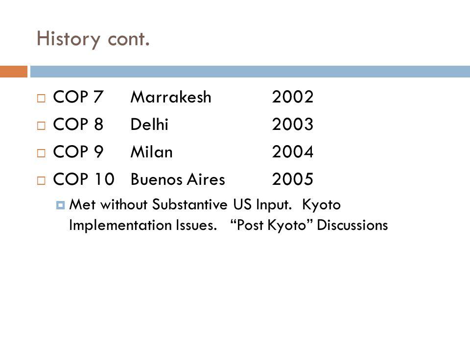 History cont.  COP 7 Marrakesh2002  COP 8Delhi2003  COP 9Milan 2004  COP 10Buenos Aires2005  Met without Substantive US Input. Kyoto Implementati