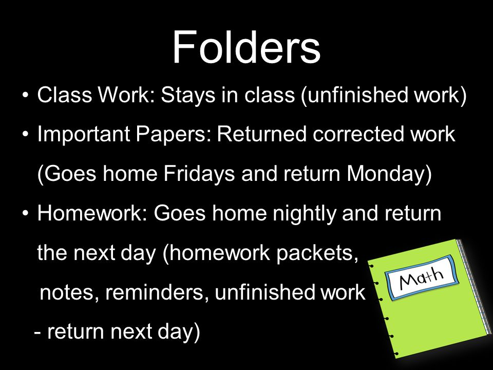 Homework Purpose: To practice and reinforce material learned/learning in class Time Frame: 30-60 minutes Weekly homework packets will be sent home on Mondays Please return packets by the following Monday Late packets will be accepted until Thursday (points deducted) If your child is unable to complete homework during the allotted time due to family emergency or if homework is taking longer than 60 minutes please contact me for special arrangements