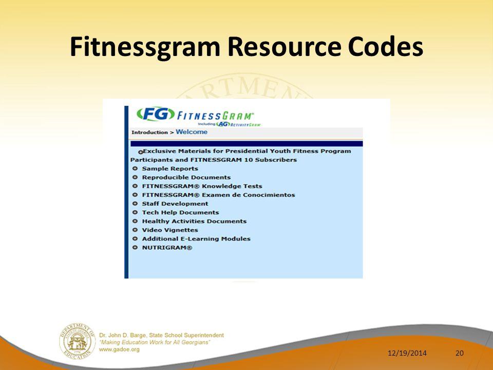 Fitnessgram Resource Codes 12/19/201420