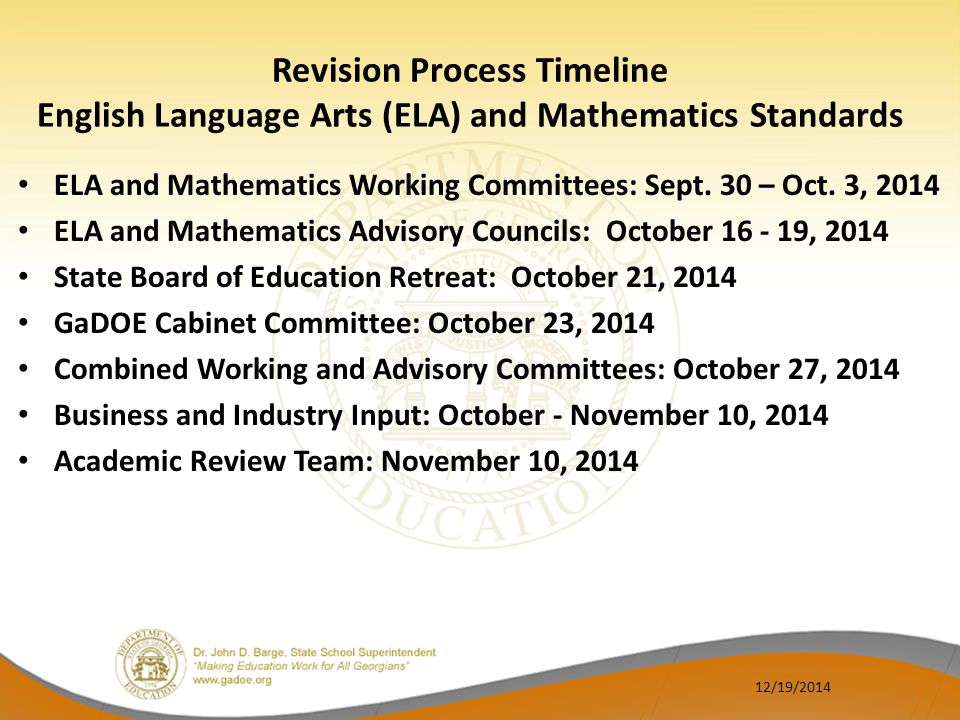 Revision Process Timeline English Language Arts (ELA) and Mathematics Standards ELA and Mathematics Working Committees: Sept.