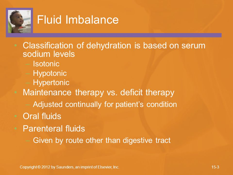 Fluid Imbalance Classification of dehydration is based on serum sodium levels –Isotonic –Hypotonic –Hypertonic Maintenance therapy vs.