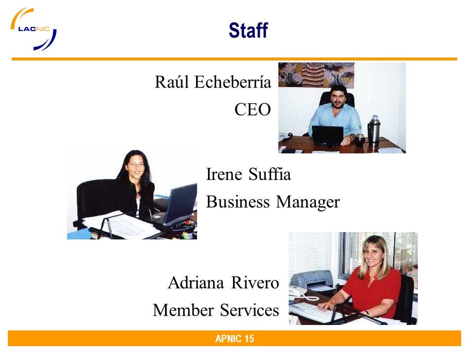 APNIC 15 Raúl Echeberría CEO Adriana Rivero Member Services Irene Suffia Business Manager Staff