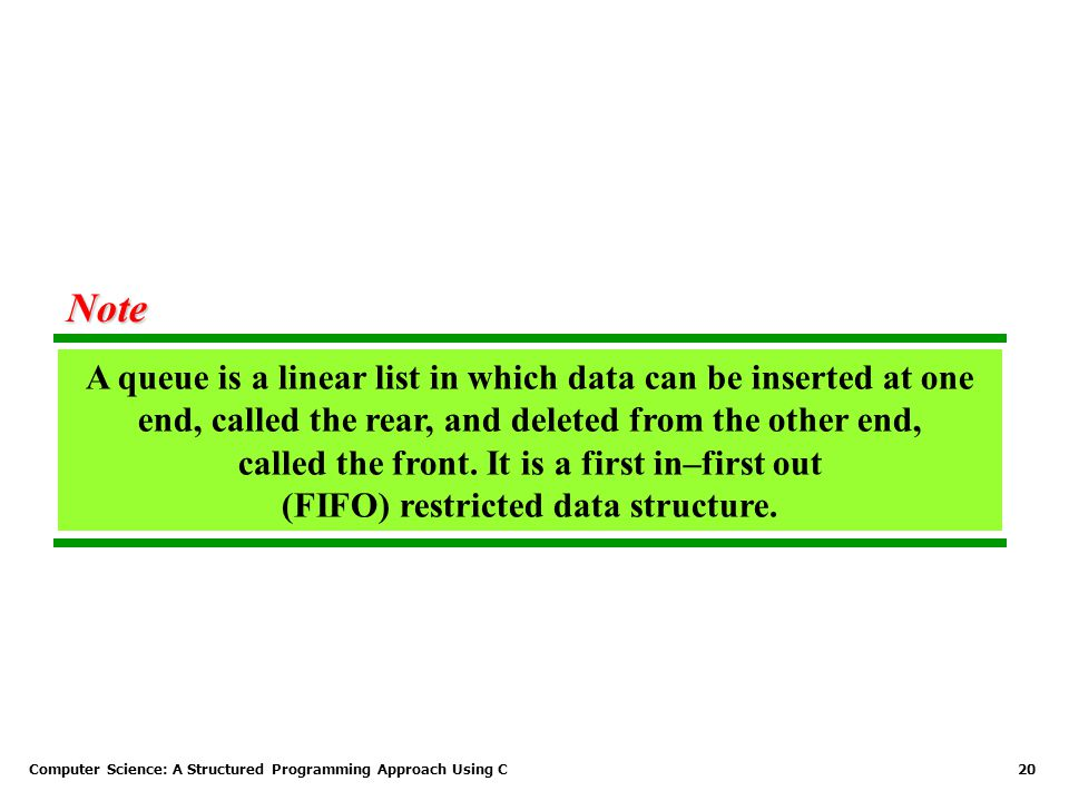 Computer Science: A Structured Programming Approach Using C20 A queue is a linear list in which data can be inserted at one end, called the rear, and