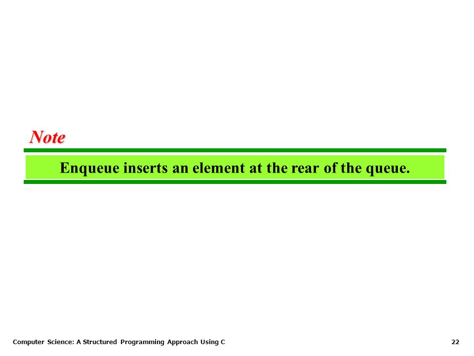 Computer Science: A Structured Programming Approach Using C22 Enqueue inserts an element at the rear of the queue. Note