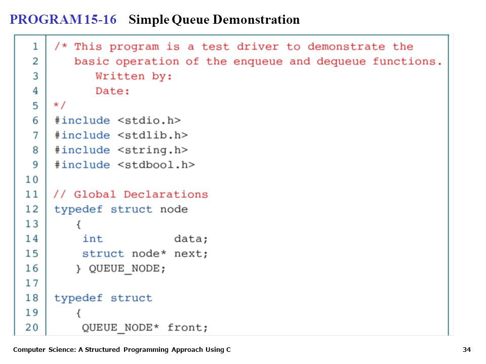 Computer Science: A Structured Programming Approach Using C34 PROGRAM 15-16Simple Queue Demonstration