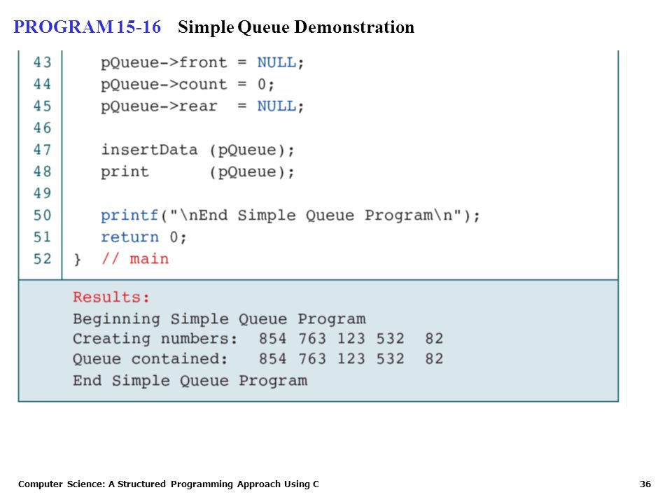 Computer Science: A Structured Programming Approach Using C36 PROGRAM 15-16Simple Queue Demonstration