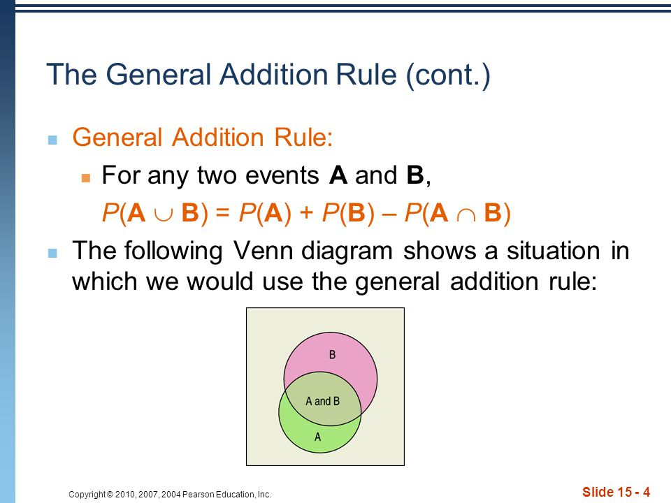 Copyright © 2010, 2007, 2004 Pearson Education, Inc. Slide 15 - 4 The General Addition Rule (cont.) General Addition Rule: For any two events A and B,