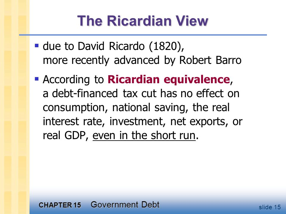 CHAPTER 15 Government Debt slide 15 The Ricardian View  due to David Ricardo (1820), more recently advanced by Robert Barro  According to Ricardian equivalence, a debt-financed tax cut has no effect on consumption, national saving, the real interest rate, investment, net exports, or real GDP, even in the short run.