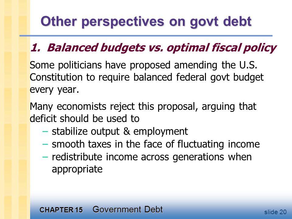 CHAPTER 15 Government Debt slide 20 Other perspectives on govt debt 1.