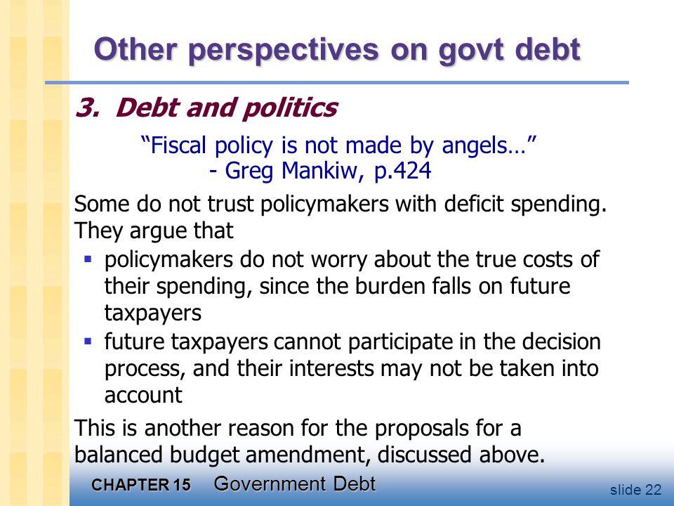CHAPTER 15 Government Debt slide 22 Other perspectives on govt debt 3.