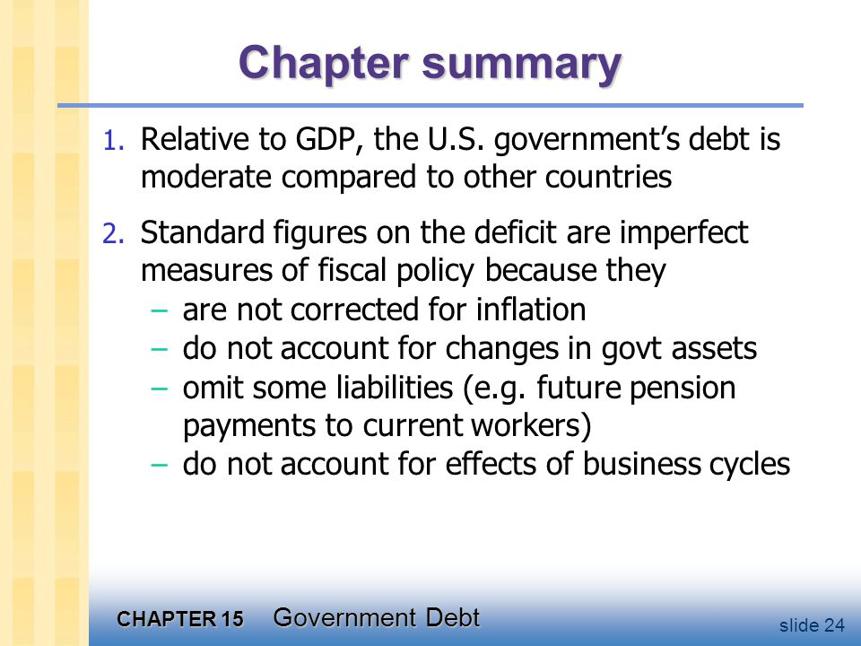 CHAPTER 15 Government Debt slide 24 Chapter summary 1.