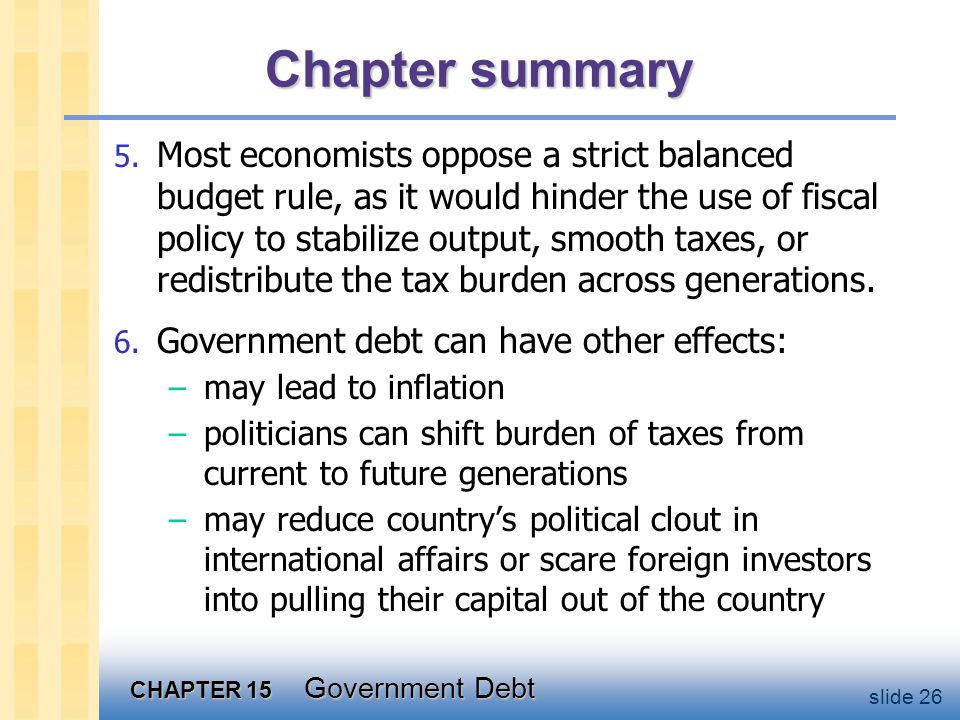 CHAPTER 15 Government Debt slide 26 Chapter summary 5.