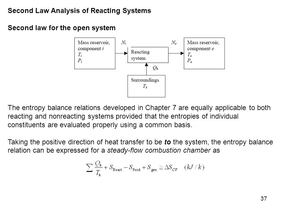 37 Second Law Analysis of Reacting Systems Second law for the open system The entropy balance relations developed in Chapter 7 are equally applica­ble
