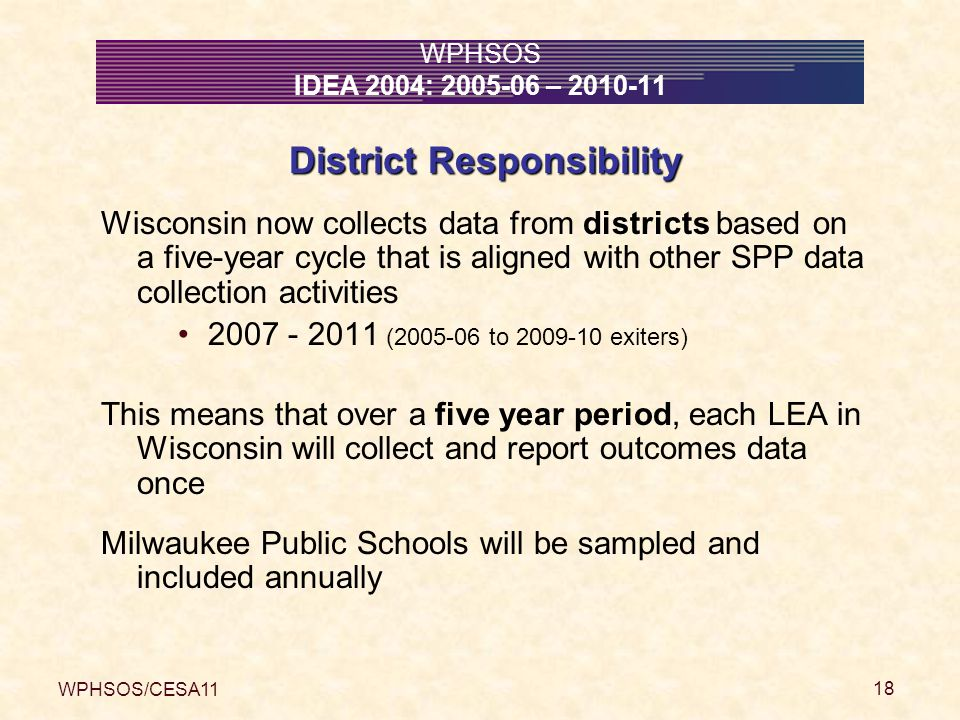 WPHSOS/CESA11 18 WPHSOS IDEA 2004: 2005-06 – 2010-11 District Responsibility Wisconsin now collects data from districts based on a five-year cycle that is aligned with other SPP data collection activities 2007 - 2011 (2005-06 to 2009-10 exiters) This means that over a five year period, each LEA in Wisconsin will collect and report outcomes data once Milwaukee Public Schools will be sampled and included annually