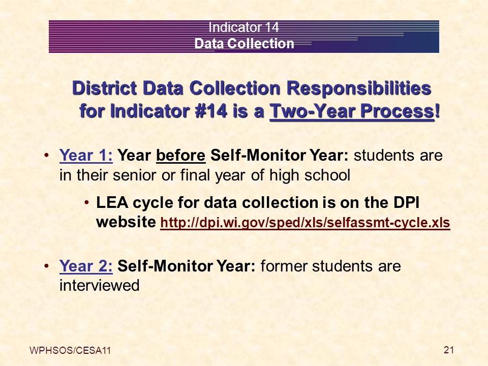 WPHSOS/CESA11 21 Indicator 14 Data Collection District Data Collection Responsibilities for Indicator #14 is a Two-Year Process.