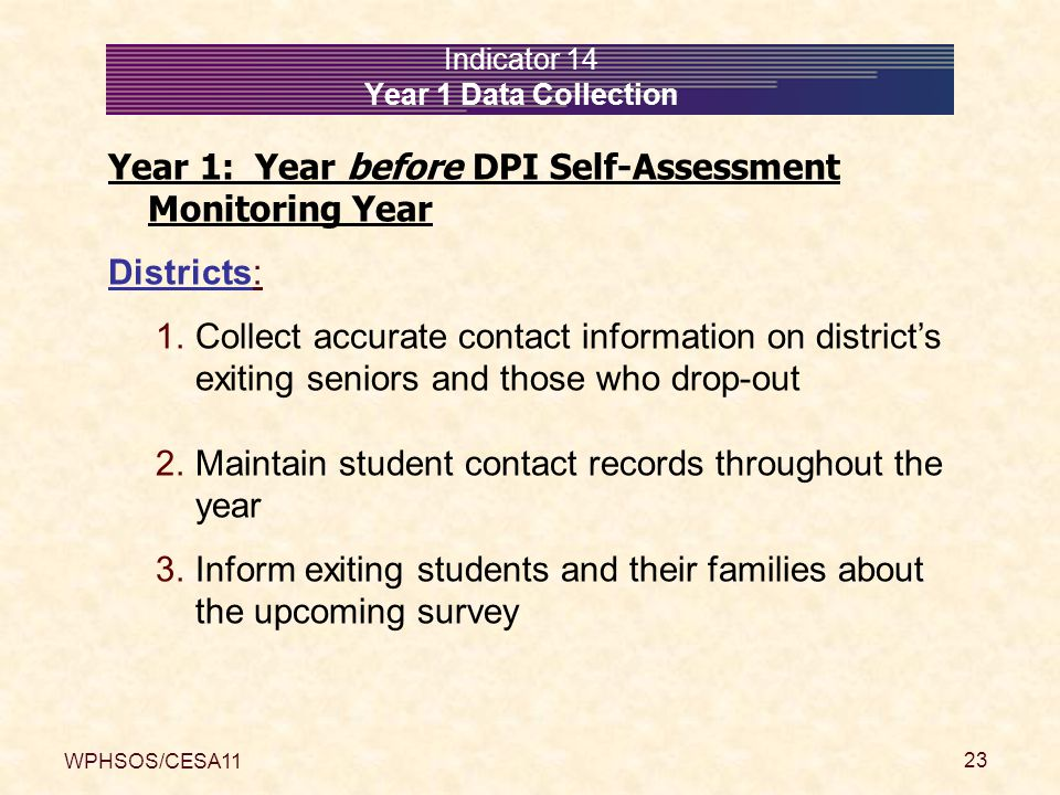 WPHSOS/CESA11 23 Indicator 14 Year 1 Data Collection Year 1: Year before DPI Self-Assessment Monitoring Year Districts: 1.Collect accurate contact inf