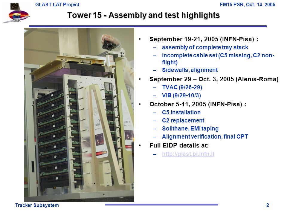 Tracker Subsystem3 GLAST LAT Project FM15 PSR, Oct.